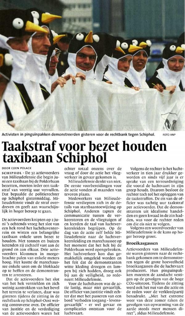 Taakstraf voor bezet houden taxibaan Schiphol