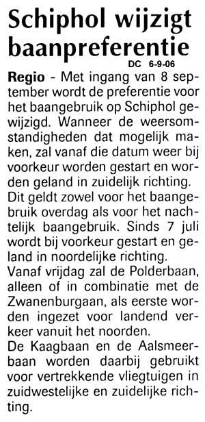 Schiphol wijzigt baanpreferentie