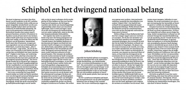 Schiphol en het dwingend nationaal belang