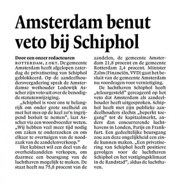 Amsterdam benut veto bij Schiphol