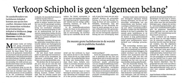 """Verkoop Schiphol is geen """"algemeen belang"""""""