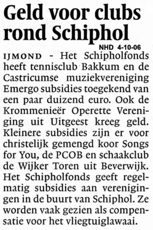 Geld voor clubs rond Schiphol