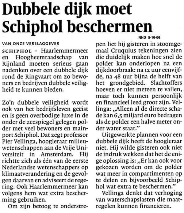 Dubbele dijk moet Schiphol beschermen