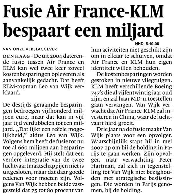 Fusie Air France KLM  bespaart een miljard