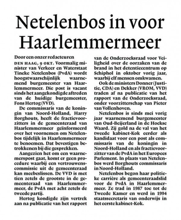 Netelenbos in voor Haarlemmermeer