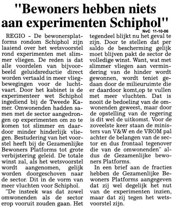 Bewoners hebben niets aan experimenten Schiphol
