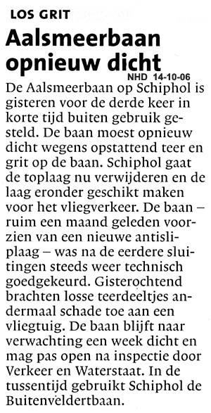 Aalsmeerbaan opnieuw dicht Los grit