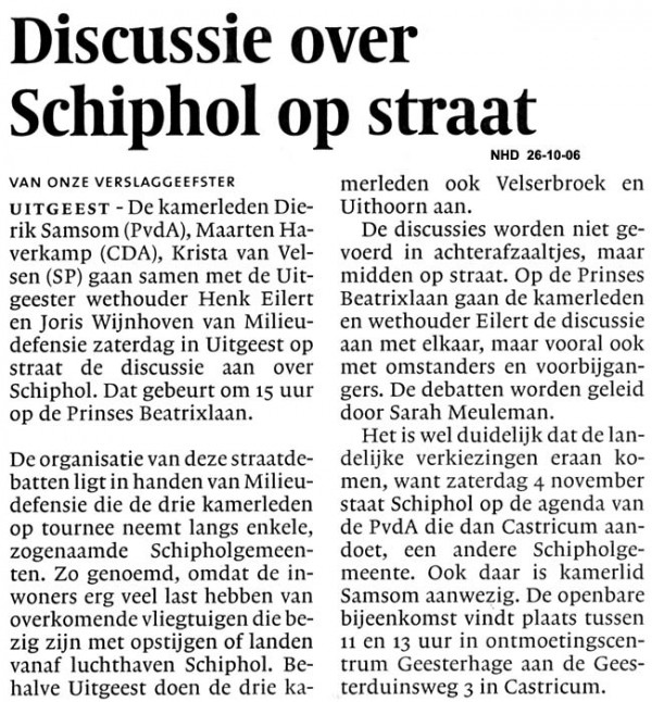 Discussie over Schiphol op straat