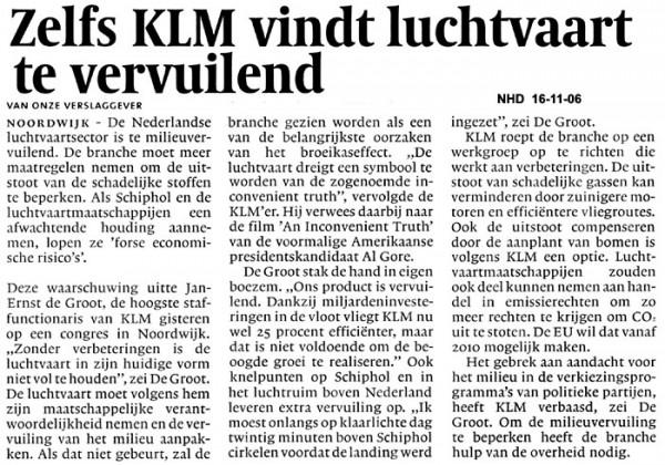 Zelfs KLM vindt luchtvaart te vervuilend