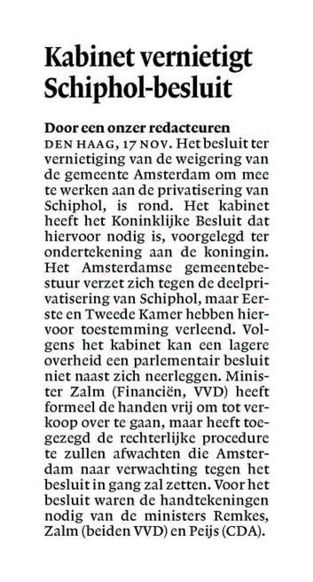 Kabinet vernietigt Schiphol-besluit