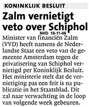 Zalm vernietigt veto over Schiphol