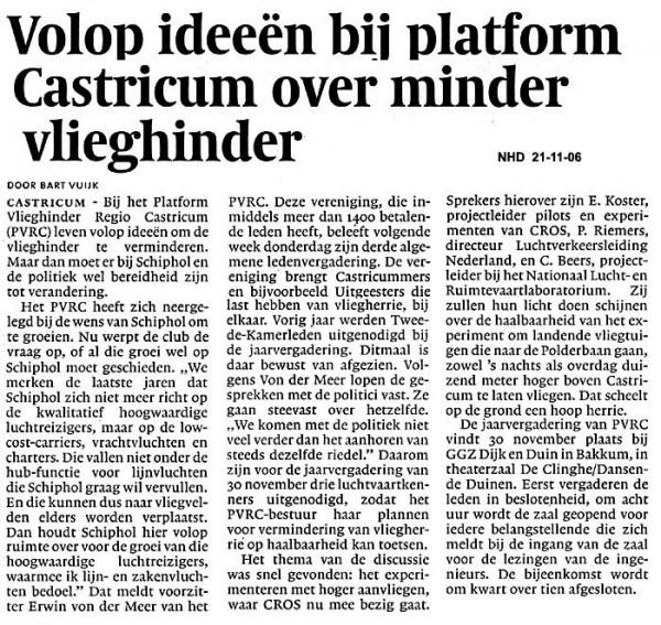 Volop ideeën bij Platform Castricum over minder vlieghinder