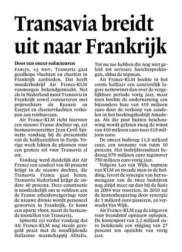 Transavia breidt uit naar Frankrijk