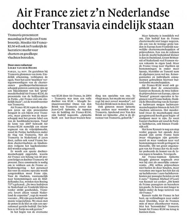 Air France ziet z'n Nederlandse dochter Transavia eindelijk staan