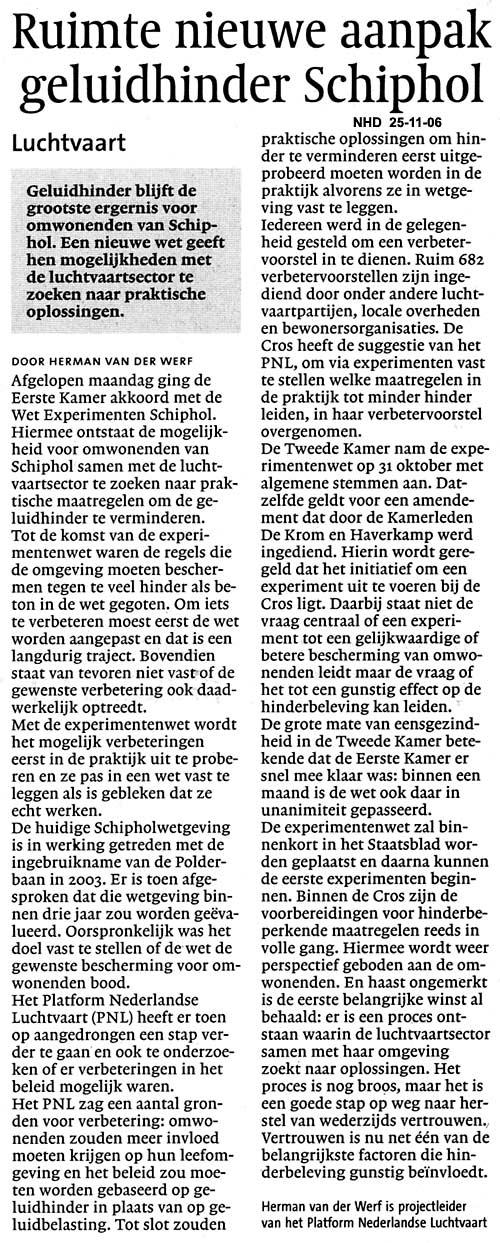 Ruimte nieuwe aanpak geluidhinder Schiphol