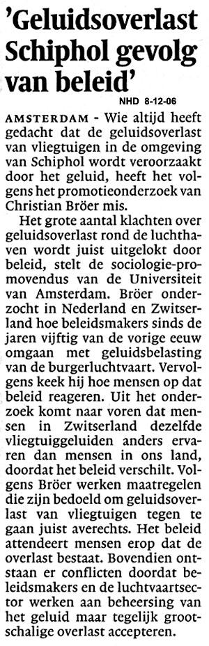 Geluidsoverlast Schiphol gevolg van beleid