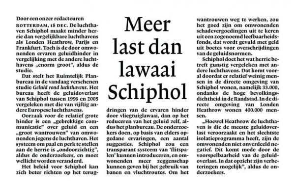 Meer last dan lawaai Schiphol