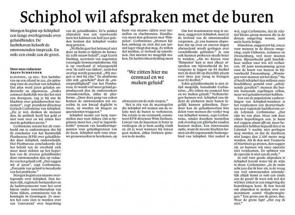 Schiphol wil afspraak maken met de buren