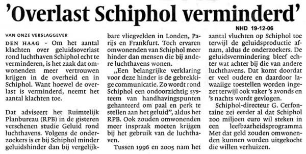 Overlast Schiphol verminderd