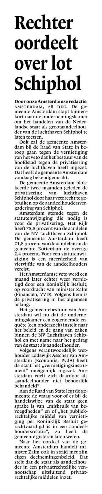 Rechter oordeelt over lot Schiphol
