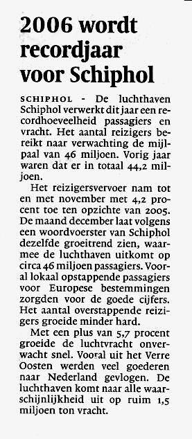 2006 wordt recordjaar voor Schiphol