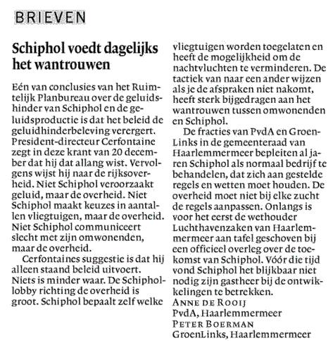 Schiphol voedt dagelijks het wantrouwen.