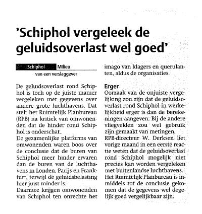 'Schiphol vergeleek de geluidsoverlast wel goed'