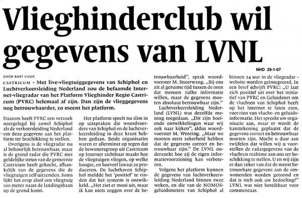 Vlieghinderclub wil gegevens van LVNL