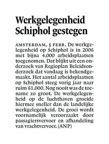 Werkgelegenheid Schiphol gestegen