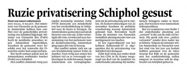 Ruzie privatisering Schiphol gesust