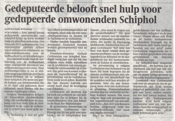 Gedeputeerde belooft snel hulp voor gedupeerde omwonenden Schiphol