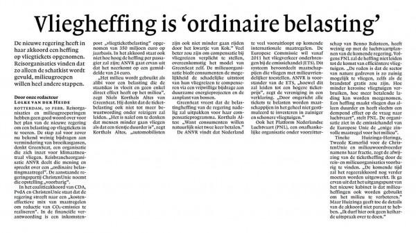 Vliegheffing is 'ordinaire belasting'