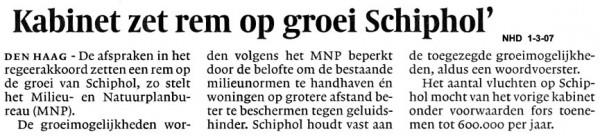Kabinet zet rem op groei Schiphol
