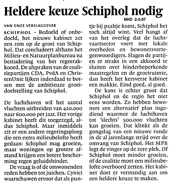 Heldere keuze Schiphol nodig