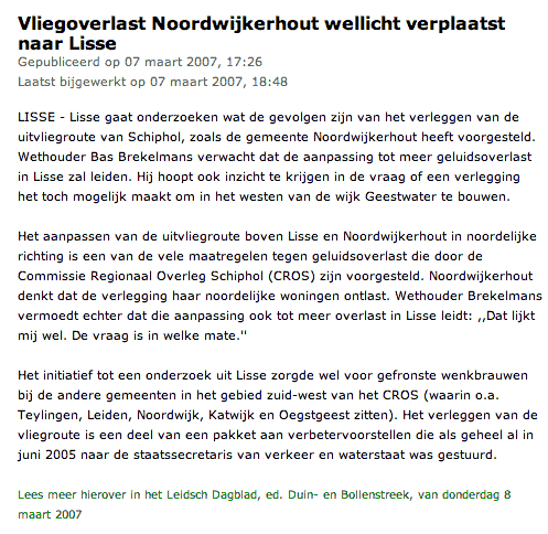 Vliegoverlast Noordwijkerhout wellicht verplaatst naar Lisse