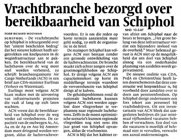 Vrachtbranche bezorgd over bereikbaarheid van Schiphol