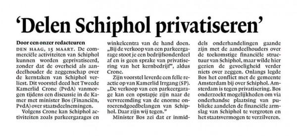 'Delen Schiphol privatiseren'
