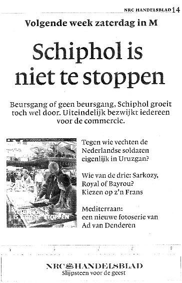 Schiphol is niet te stoppen