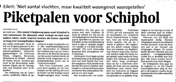 Cluster Noord-gemeenten willen piketpalen voor Schiphol