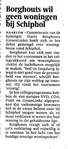 Borghouts wil geen woningen bij Schiphol
