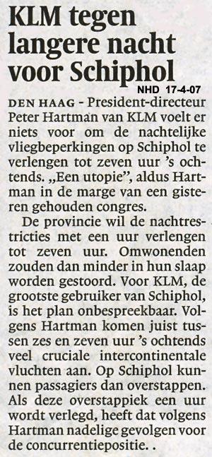 KLM tegen langere nacht voor Schiphol