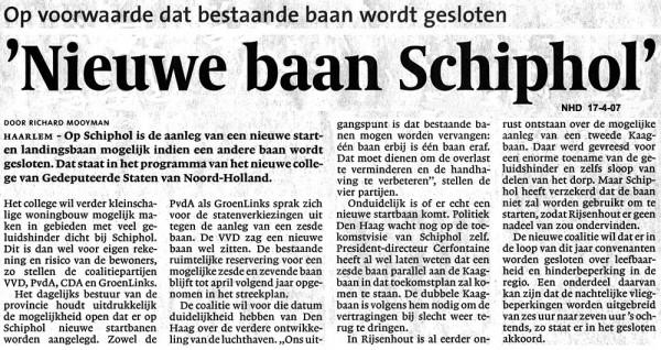 'Nieuwe baan Schiphol'