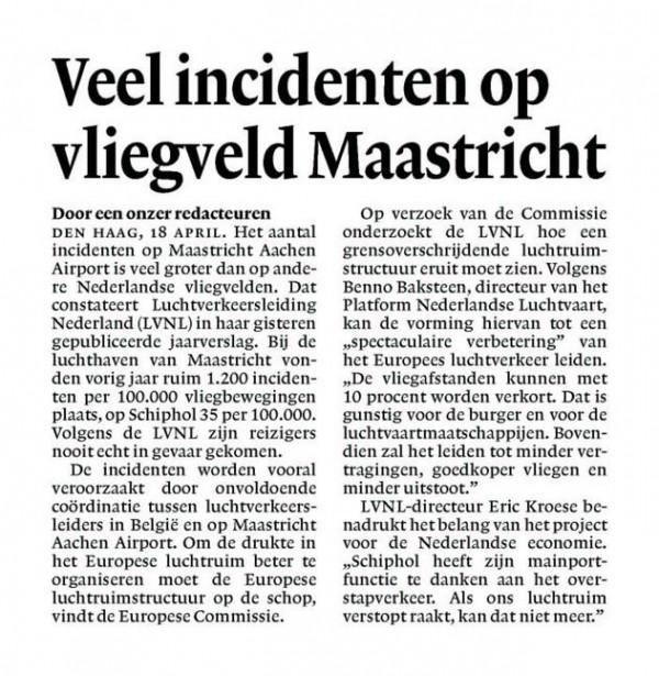 Veel incidenten op vliegveld Maastricht