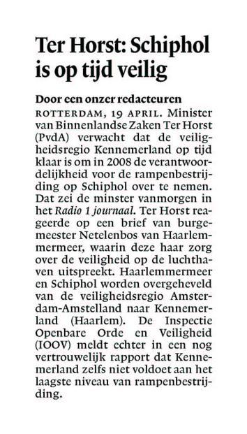 Ter Horst: Schiphol is op tijd veilig