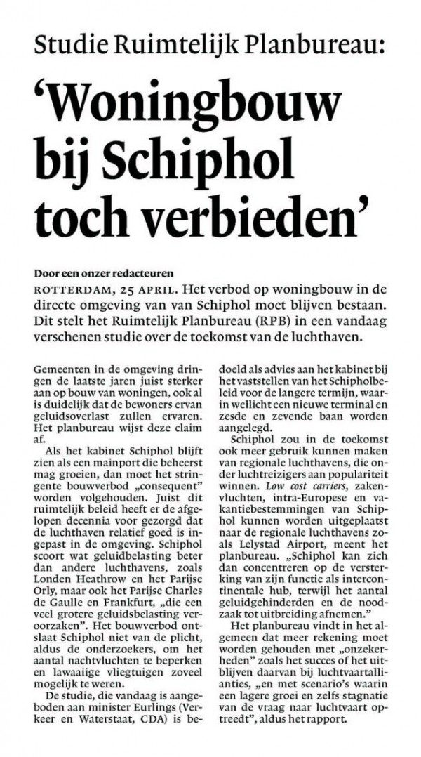 'Woningbouw bij Schiphol toch verbieden'