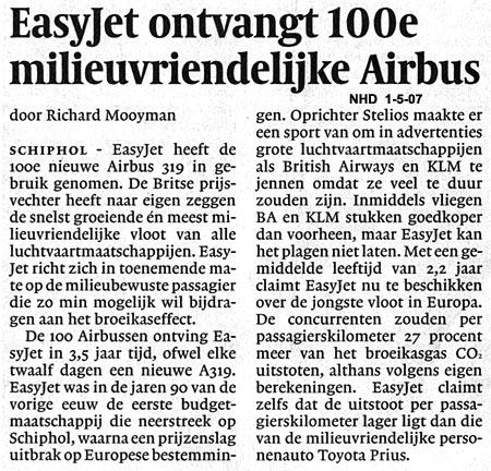 Easyjet ontvangt 100e milieuvriendelijke Airbus