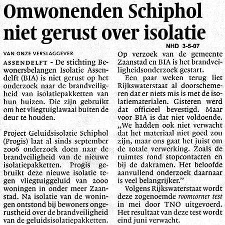 Omwonenden Schiphol niet gerust over isolatie