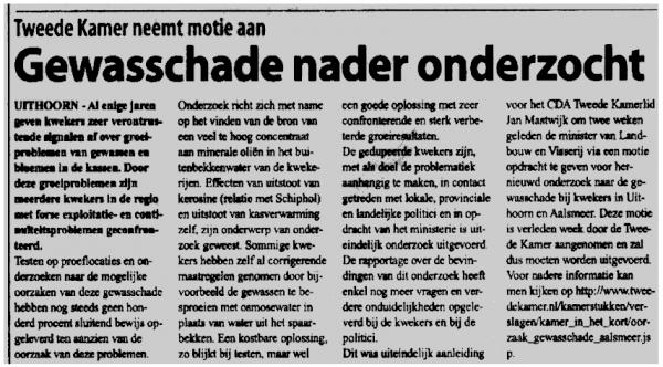 Gewasschade nader onderzocht(mogelijk verband met kerosineuitstoot Schiphol, red. vh)