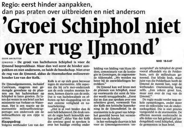Groei Schiphol niet over rug IJmond