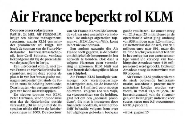 Air France beperkt rol KLM